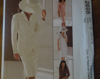 McCalls 2698, sizes 10-14, UNCUT sewing pattern, petite, dress or jacket and skirt, craft supplies, misses, womens,