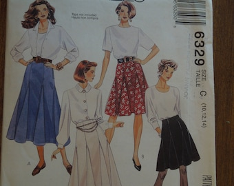 McCalls 6329, sizes 10-14, skirts in three lengths, UNCUT sewing pattern, craft supplies