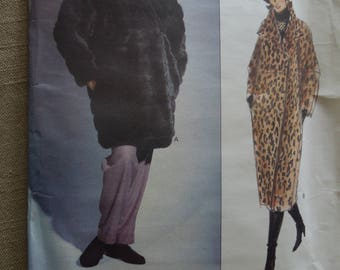 Vogue 2993, sizes xs to medium, lined fur coats, misses, womens, UNCUT sewing pattern, craft supplies