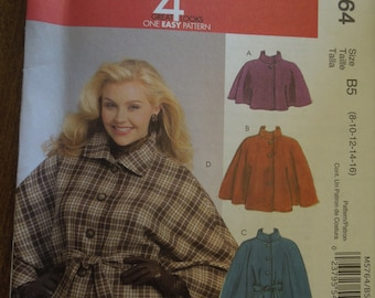 McCalls M5764, sizes 8-16, capelets and belt, unlined, UNCUT sewing pattern