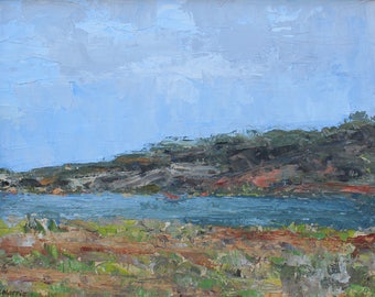 View from Bolinas Lagoon- Palette Knife Oil Painting