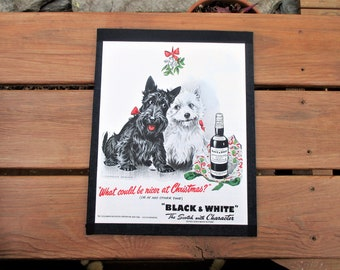 1940 Scottish Terrier Westie Dogs B/&W Scotch Whisky Suit Case Travel Print Ad