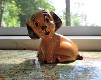 Small Tan and Brown Ceramic Kitchy Dog Figurine