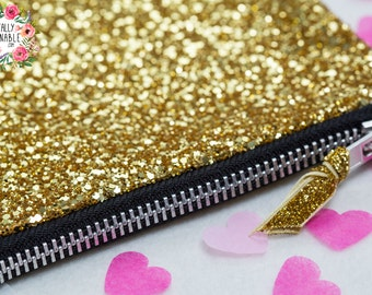 Gold Glitter Bag, with premium glitter fabric and YKK Zip. Plus free Gift Wrapping!