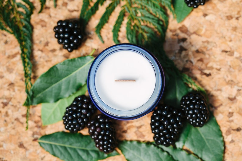 Blackberry and Bay, 100% Soy Wax Candle, with Wooden Wick  Eco Friendly,  Cobalt Blue Glass Jar, 120ml  Hand Poured  Vegan Wax