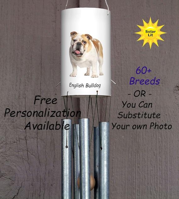 Pet Memorial Custom PVC Yard Art English Bulldog with Solar Light Wind Chimes: Dogs