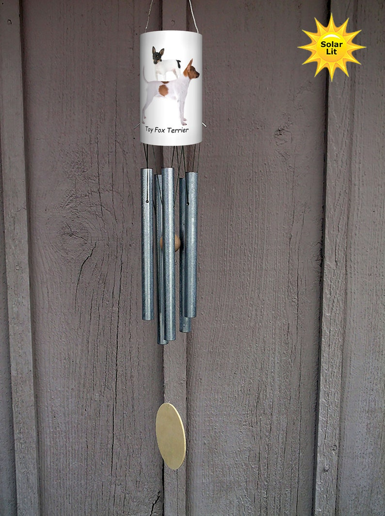 Pet Memorial Custom PVC Yard Art Toy Fox Terrier with Solar Light Wind Chimes: Dogs