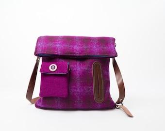 Harris Tweed and leather Dog Walker's Bag, detachable treat bag, made to order dog walking bag