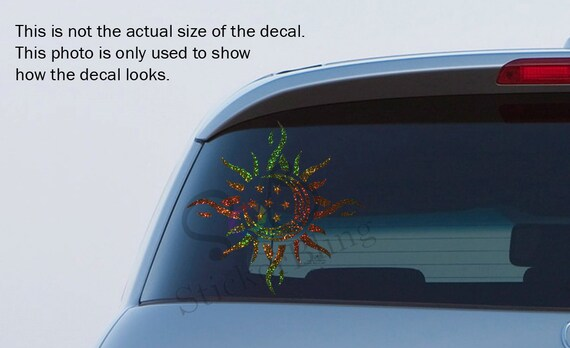 Sun Moon Star Tribal Silver Glitter Holographic Vinyl Decal Car Window Bumper