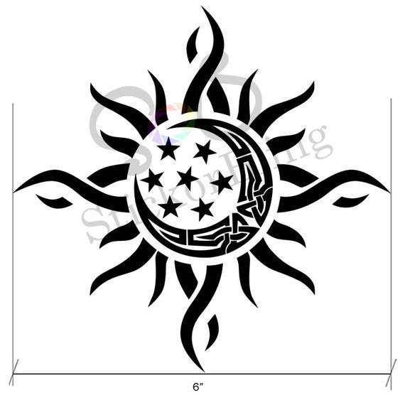 Sun Moon Star Tribal 6 Die Cut Vinyl Decal Sticker Car Etsy