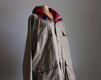 Vintage 80s Anorak Parka || Tan + Red Black Buffalo Plaid  || Extra Large XL