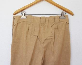 1970s Texas Togs Cowgirl Trouser High Waist Capris ||  Wheat Brown Colored Gabardine   || Women Size 8