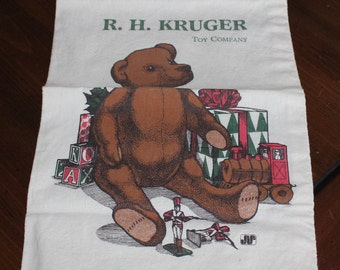 R.H. Kruger Toy Company Christmas Bear Vintage Canvas Bag by Bagtiques