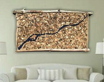 "57"" x 32"" Extra Large Driftwood Slice Art with Sea Glass River Detail Around Driftwood Island, Driftwood Art, Beach Decor, Driftwood Decor"