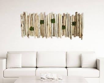 Large Driftwood and Moss Wall Hanging Art, Living Wall, Driftwood Hanging Art, Beach Wall Art, Beach Home Decor, Driftwood Art
