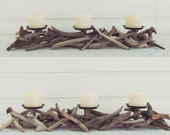 Driftwood Three Pillar Candle Holder, Driftwood Candle Holder, Driftwood Candelabra, Driftwood Art, Beach Decor, Driftwood Beach Decor