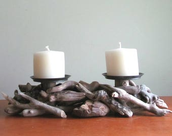 Driftwood Two Pillar Candle Holder, Driftwood Candelabra, Wood Candle Holder, Driftwood Art, Rustic Home Decor, Coastal Decor, Driftwood