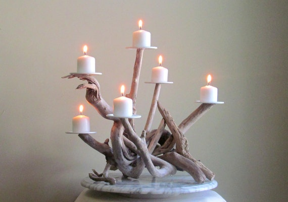 Driftwood six candles candelabra wedding centerpiece table