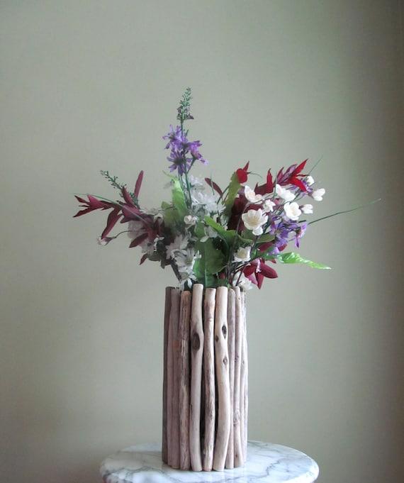 Tall Thin Driftwood Vase Centerpiece Driftwood Flower Vase Etsy