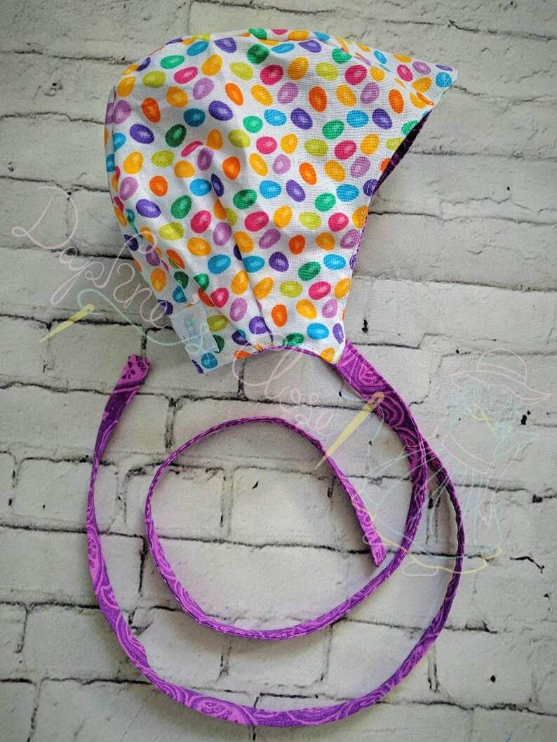 0-3m Reversible Jellybean Bonnet and Bubble Short set