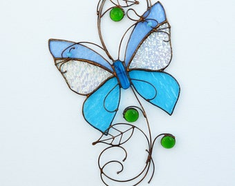 Stained Glass Suncatcher Butterfly Tiffany Glass Home decor Gift