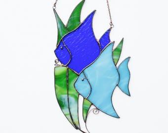 Original Stained Glass Suncatcher FISH Ocean Coastal art Handmade Home decor Gift