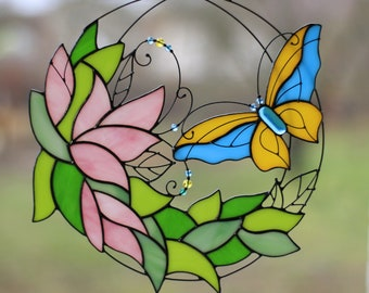 Stained Glass Art Suncatcher Window panel Butterfly with flowers Handmade Home decor Gift