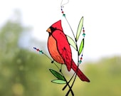 Suncatcher Stained Glass Art Window hangings Cardinal Bird Home decor Gift