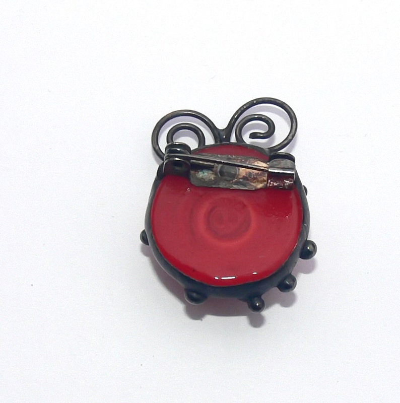 Brooch Ladybird Ladybug Pin Badge  Broach Red glass Cabochon