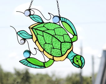 Suncatcher Stained Glass Art Window hangings Turtle Home decor Gift