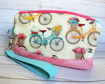 Pink Bicycles and Flowers Wristlet, Zipper purse, Phone Wristlet, Pencil Pouch, Accessories bag