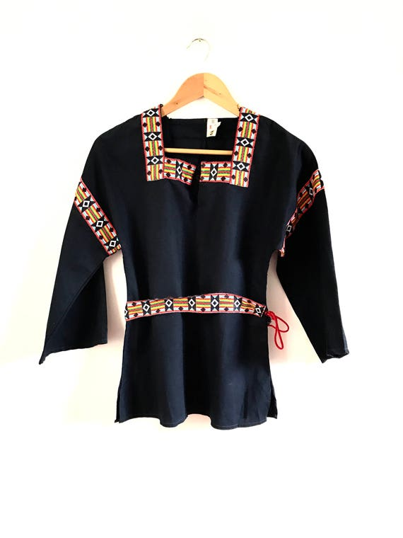 Vintage Embroidered Blouse. Folk Peasant Embroider