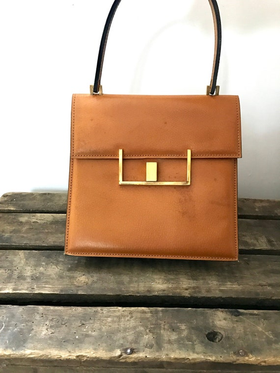 60's Leather Handbag. 60's Purse. Vintage Leather