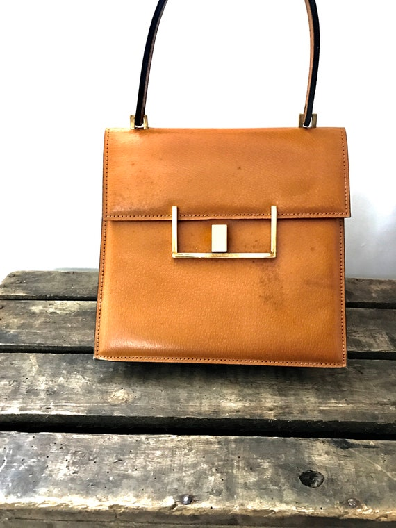 60's Leather Handbag. 60's Purse. Vintage Leather… - image 2