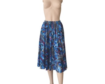 Abstract 80s Vintage Pleated Circle Skirt Size M E D I U M