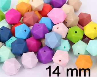 50pcs Turquoise Color 14mm Silicone Polyhedron Beads Silicone Geometry Icosahedron Beads for Mom Jewelry Necklace Making