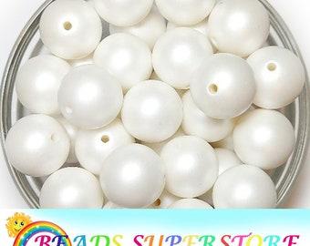 Gumball Beads 20mm Mint Matte Pearl Chunky Bubblegum Round Beads 10pcs Matte Acrylic Chunky Beads