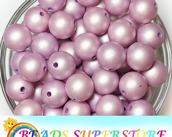 20pcs Acrylic Chunky Beads Matte Gumball Beads 12mm Purple Lilac Matte Pearl Chunky Bubblegum Round Beads