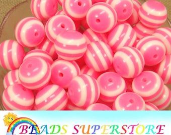 5 pcs 20mm light pink lavender stripe chunky bubblegum beads DIY necklace supply