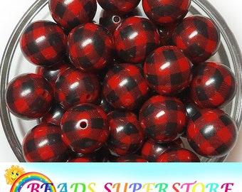 20mm Red and Black Buffalo Plaid Chunky Bubblegum Round Beads, Gumball Beads, Acrylic Chunky Beads