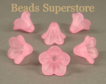 FINAL SALE 14 mm x 10 mm Pink Lucite Flower Bead - 15 pcs