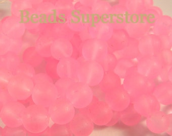 FINAL SALE 10 mm Pink Frosted Round Glass Bead - 24 pcs