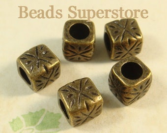 9 mm x 9 mm Antique Bronze Cube Spacer Bead - Nickel Free, Lead Free and Cadmium Free - 10 pcs