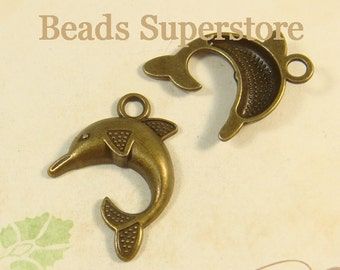 32 mm x 24 mm Antique Bronze 3D Dolphin Charm / Pendant - Nickel Free, Lead Free and Cadmium Free - 5 pcs (CH190)