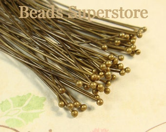 2.75 Inch (70 mm) Antique Brass Ball End Head Pin - Nickel Free and Lead Free - 50 pcs