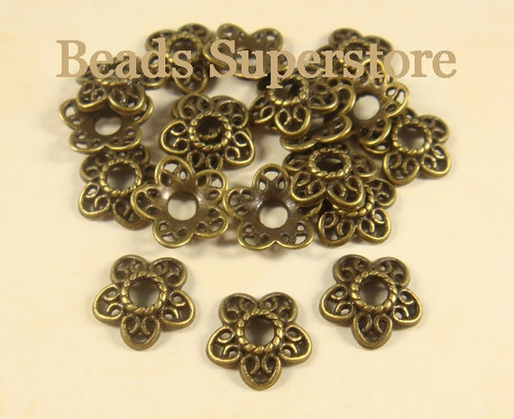 40Pcs Tibetan Silver Flower End Bead Caps Connectors 6.5mm