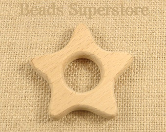 Natural Unfinished BEECH Wood Star Teether - Organic Teether - Baby Teether - Natural Unfinished Wood Teether