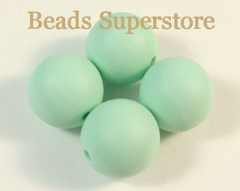 15 mm Mint Silicone Round Bead - Food Grade Teething Baby Bead- Teething Necklace Silicone Bead - 10 pcs (15ROU08)
