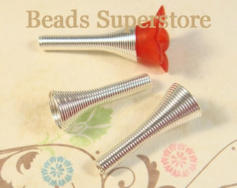 24 mm x 10 mm Silver-Plated Spiral Bead Cone - 10 pcs