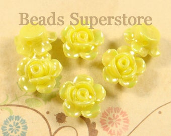 13 mm x 8 mm Yellow AB Resin Flower Bead - 10 pcs